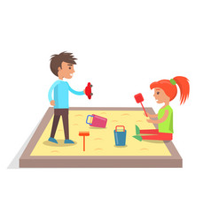 Children play with toys in sandbox vector