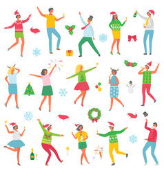 Christmas party people celebration set vector