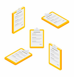 Clipboard document isometric flat icon vector