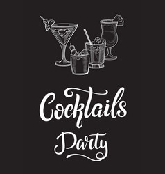 Cocktails party flyer vector