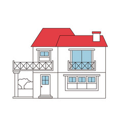 Color sections silhouette of house with two floors vector