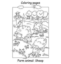 coloring sheep vector image