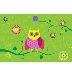 Creative owl sitting on branch with flower pattern vector image