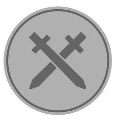 Crossing swords silver coin vector