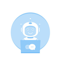 Cute smiling chat bot working in behind laptop vector