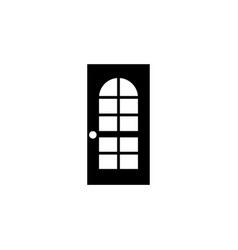 door with glass flat icon vector image