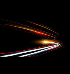 dynamic lights speed road in dark background vector image