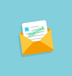 envelope with approved letter in flat design vector image