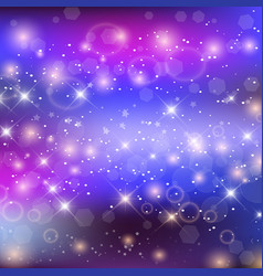 fairy night galaxy background with rainbow mesh vector image