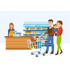 family walking around store and takes fresh food vector image