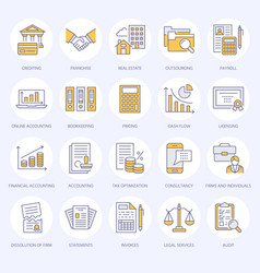 Financial accounting flat line icons bookkeeping vector