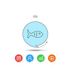 fish icon seafood sign vegetarian food symbol vector image