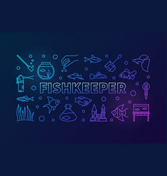 fishkeeper colored horizontal banner in vector image