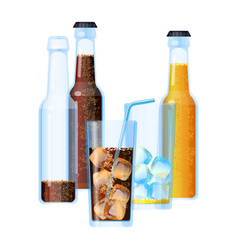 fizzy drinks beverages set with ice vector image