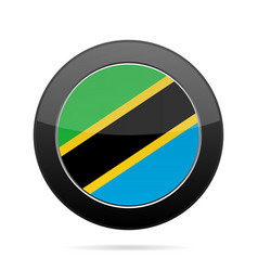 Flag of tanzania shiny black round button vector