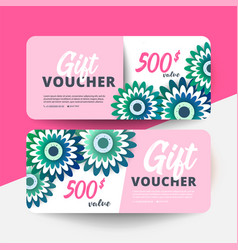 Floral gift voucher with colorful vector