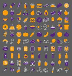 food icon big set line style stylised vector image