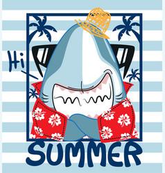 Funny shark in summer vector