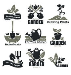 Gardening service and garden plants vecotr icons vector
