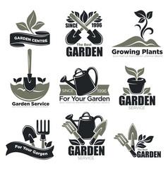 Gardening service and garden plants vecotr icons vector