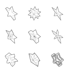 Geometric figure star icons set outline style vector