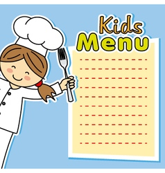 girl chef card vector image