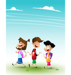 Group of kids going to school together vector