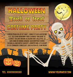 halloween promotion banner with skeleton on grave vector image