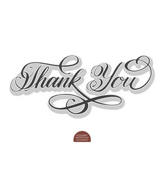 hand drawn lettering thank you with soft vector image