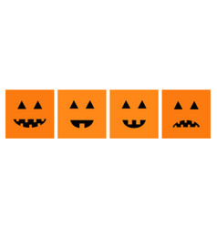 happy halloween pumpkin set line funny creepy vector image