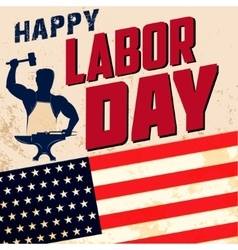 happy labor day card template flag usa on vector image