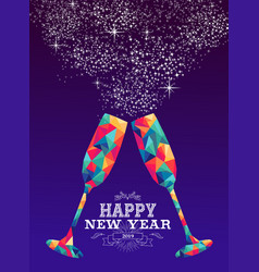 Happy new year 2019 glass triangle hipster color vector