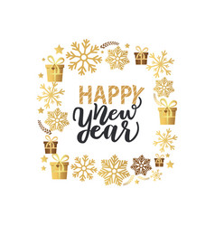 happy new year lettering text with calligraphic vector image