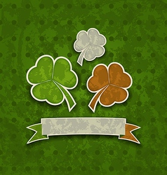 Holiday background with clovers in Irish flag vector