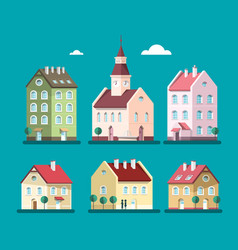 houses set buildings house and building symbols vector image