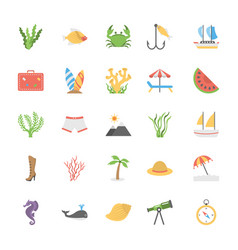 icons collection of ocean and sea life vector image