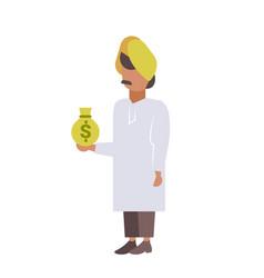 indian businessman holding money bag rich man vector image