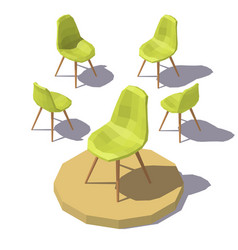 Isometric green office chair vector