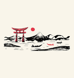 Japan panorama mountain fuji red gate hand drawn vector