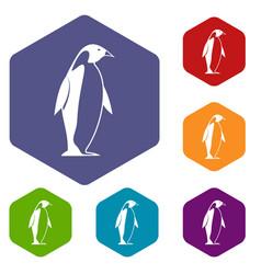 King penguin icons set hexagon vector