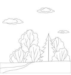 landscape forest contours vector image