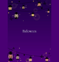 Lantern and black butterfly at night for halloween vector