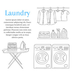 Laundry room with washing machine iron ironing vector