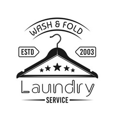 laundry service emblem with clothes hanger vector image