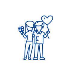 loving couple with flowers and balloons line icon vector image