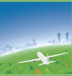 Lyon skyline flight destination vector
