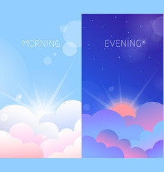 Morning and evening sky vector