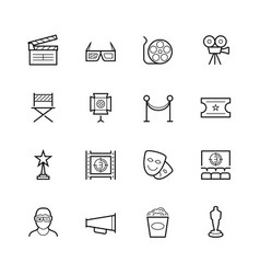 movie theater and cinema thin line icon set vector image