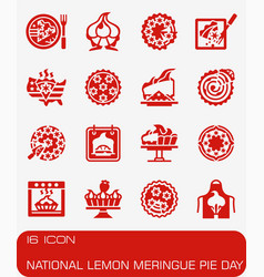National lemon meringue pie day icon set vector