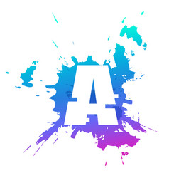 paint splat colors letter isolated on white vector image